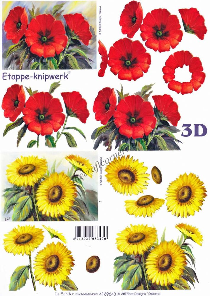 Poppies Amp Sunflower Flowers 3d Decoupage Craft Sheet